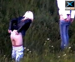 Slim sexy beauties take a quick piss in the forest