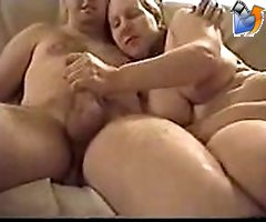 Boy heavily cumming on chubby lover's tits
